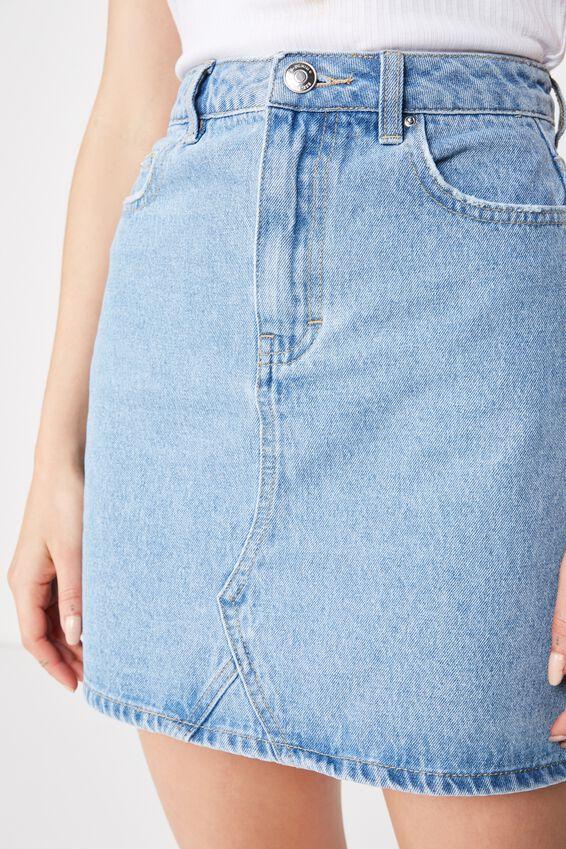 The Blair Aline Denim Skirt, LIGHT MID BLUE
