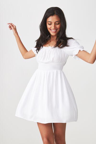 June Smock Waist Dress, WHITE