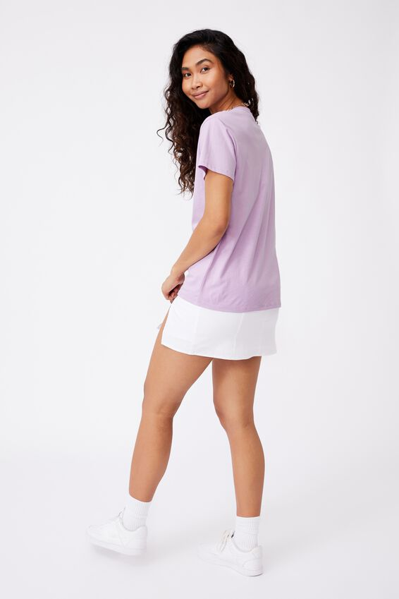 Lola Printed Longline T Shirt, ORCHID BLOOM/SAVE THE PLANET