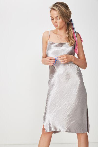 Midi Cowl Neck Dress, SILVER