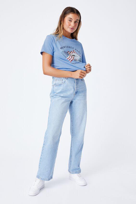 Lola Printed Longline T Shirt, ACID WASH CAROLINA BLUE/MONTEREY PARK