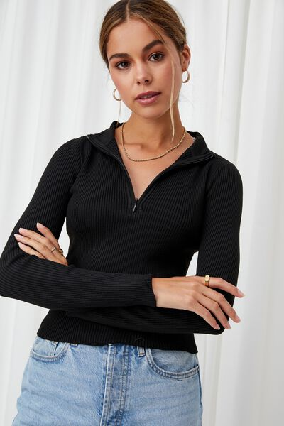 Nancy Quarter Zip Knit Top, BLACK