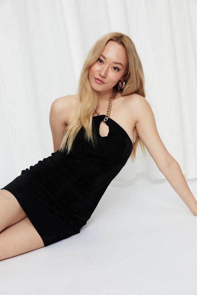Farra Chain Halter Mini Dress, BLACK