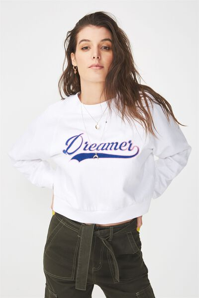 Raglan Cropped Sweat, WHITE/DREAMER