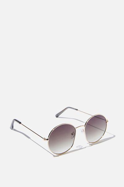 Paloma Round Sunglasses, GOLD/GRN