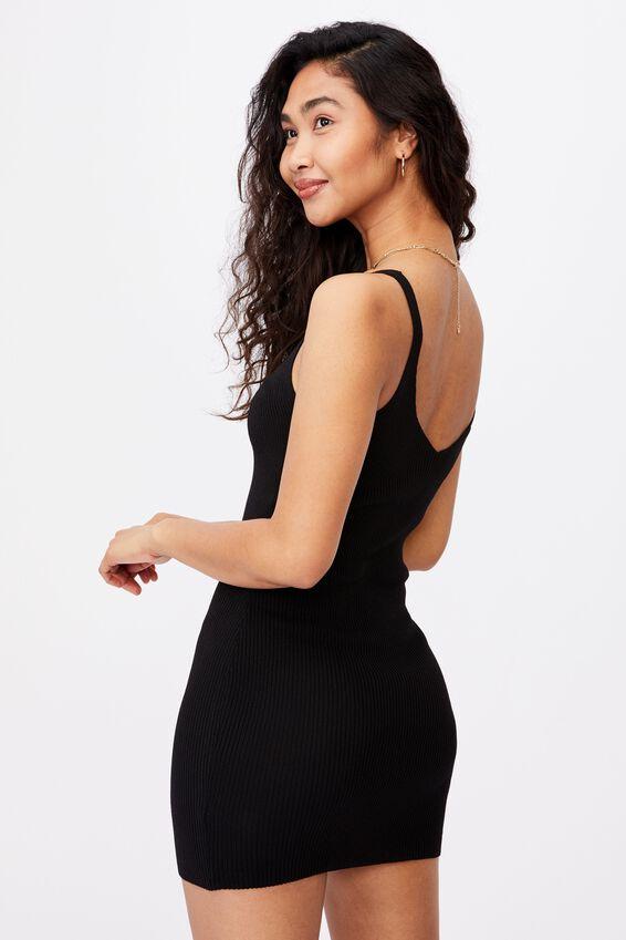 Felicity V-Neck Knit Dress, BLACK