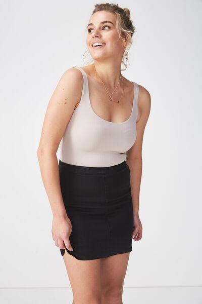 The Tyra Denim Skirt, BLACK