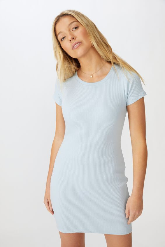 Lucia Rib Tee Mini Dress, ICE BLUE