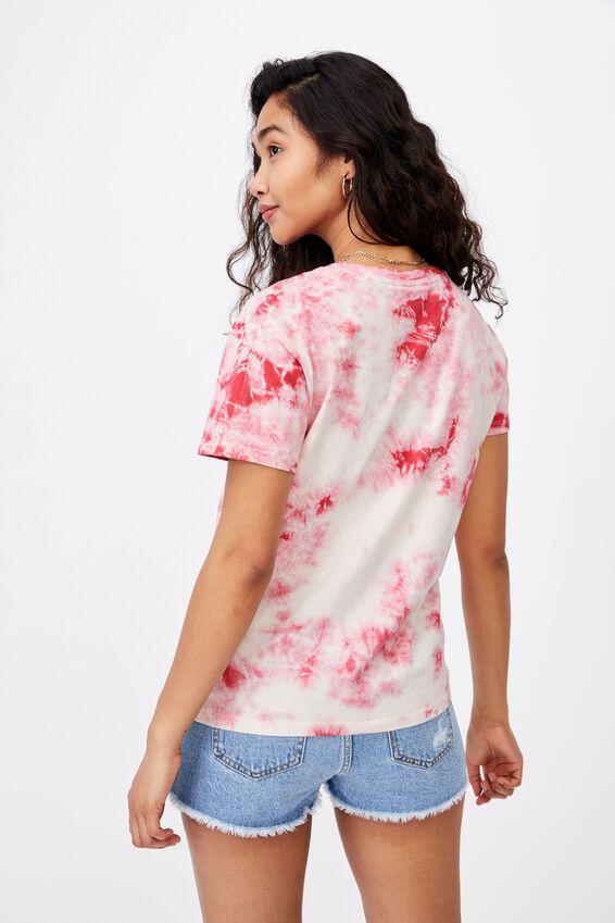 Kendall Printed T Shirt, SPLATTER TIE DYE (WHT/PINK)/LCN PER ACDC ROCK