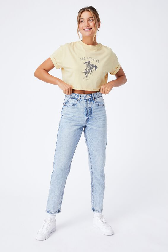 Tamara Printed Crop T Shirt, BUTTERMILK/LOS ANGELES COW BOY