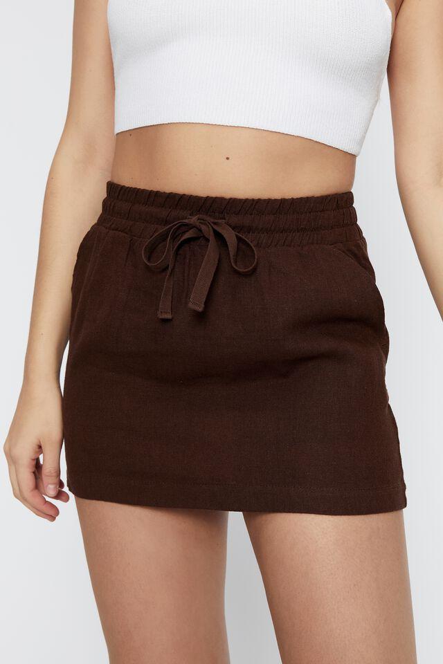 Orla Drawcord Linen Skirt, BRUNETTE