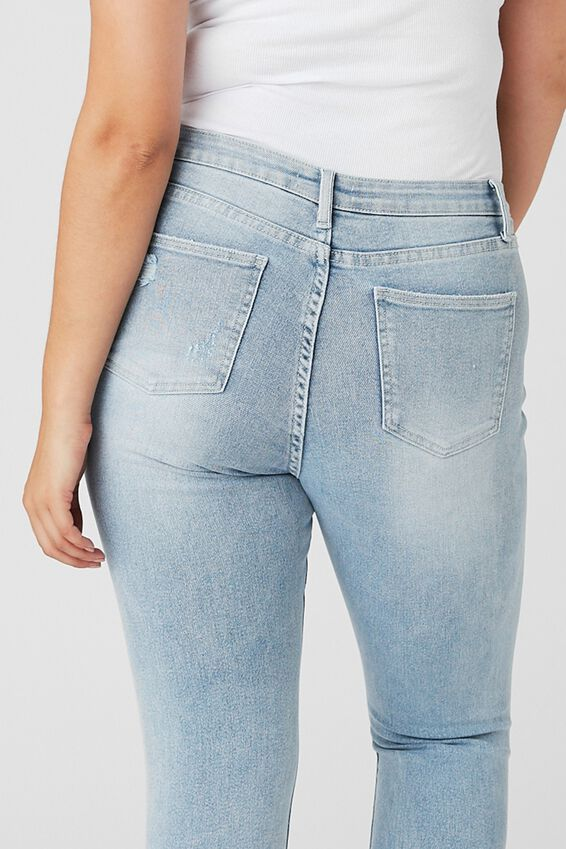Skinny Premium High Rise Ripped Jean, SKY BLUE