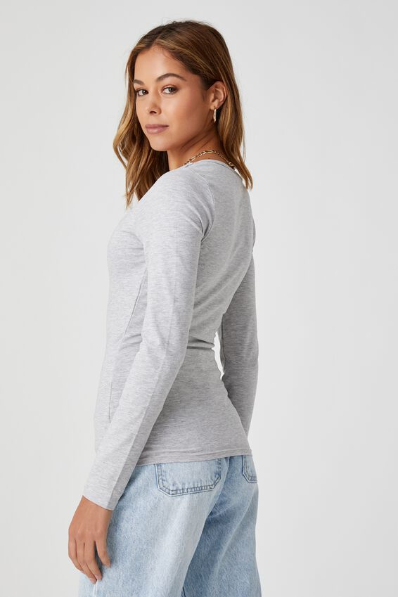 Long Sleeve Scoop Neck Top, GREY MARLE