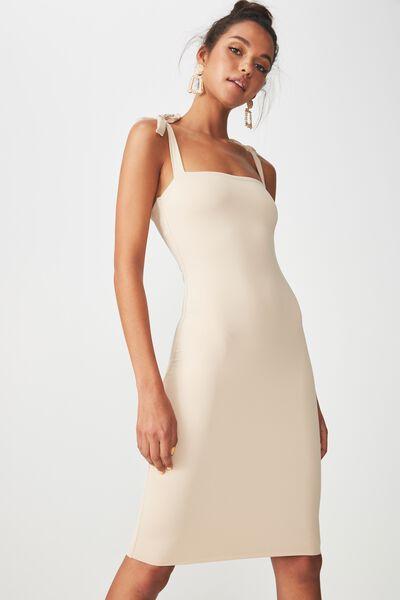 Luxe Tie Strap Bodycon Mini Dress, FRAPPE