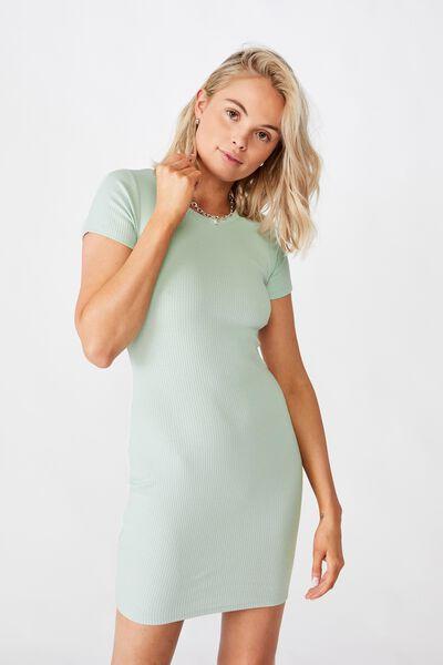 Lucia Rib Tee Mini Dress, MINTY GREEN