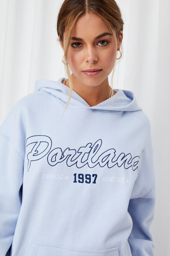 Paige Oversized Printed Hoodie, COOL BLUE/PORTLAND