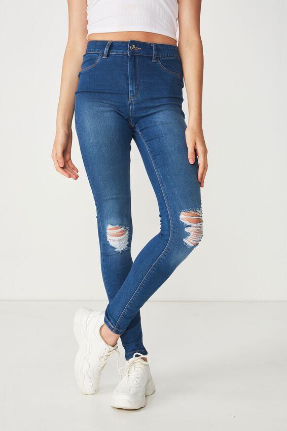 Long Leg Super Skinny Ripped Jean, REBEL BLUE