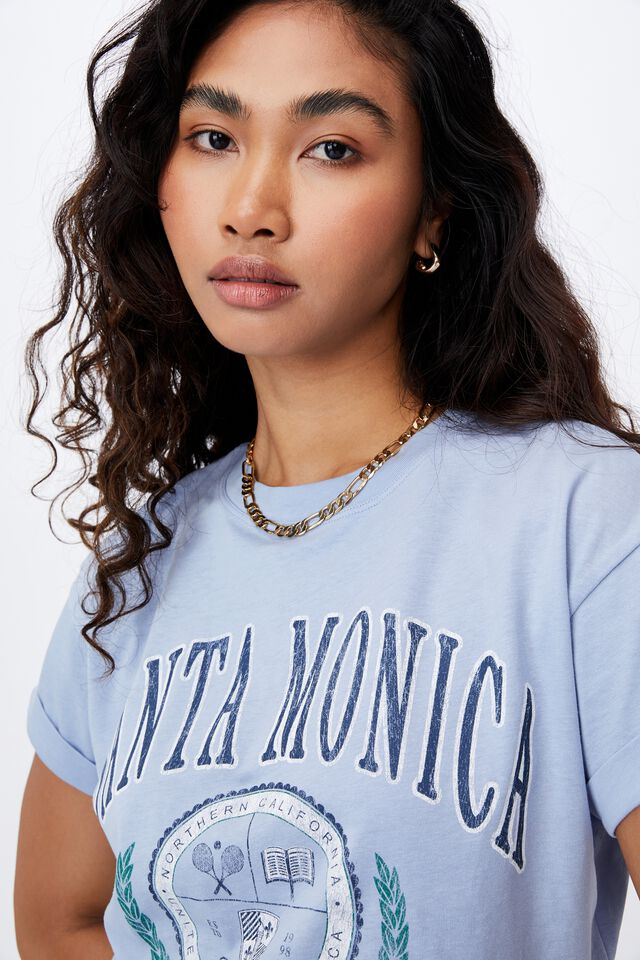 Tamara Printed Crop T Shirt, HAZEY BLUE/SANTA MONICA