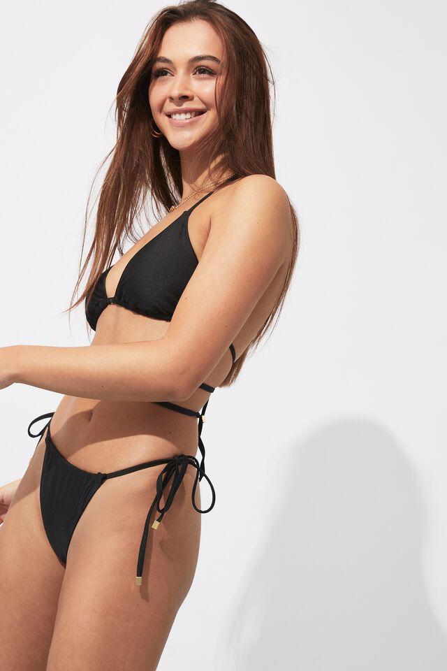 Addison Gathered Bikini Bottom, BLACK