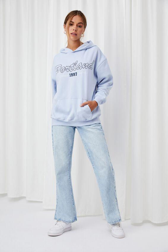 Paige Oversized Printed Hoodie, COOL BLUE/PORTLAND