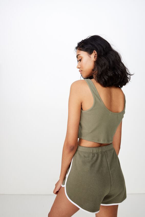 Emma Sweat Short, OLIVE KHAKI/WHITE