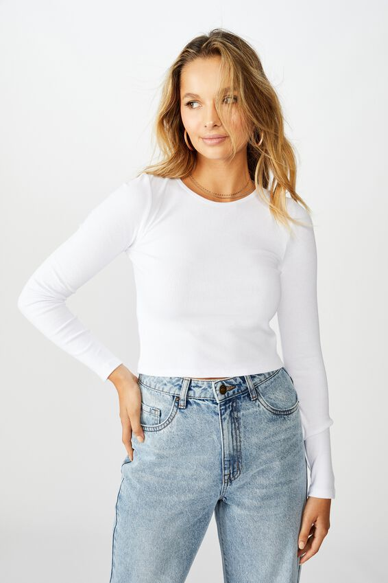 Ash Long Sleeve Rib Top, WHITE