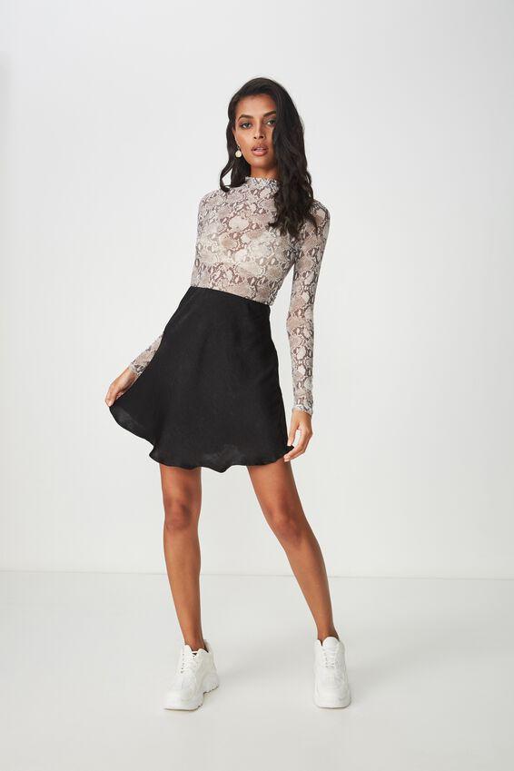 Zoe Mini Satin Skirt, BLACK