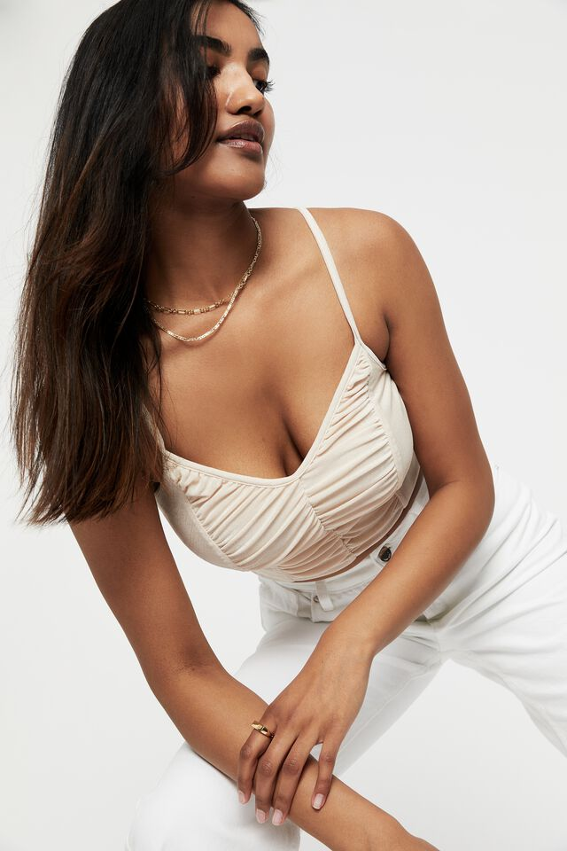 Odessa Slinky Ruched V Neck Cami Top, SUN BLEACHED