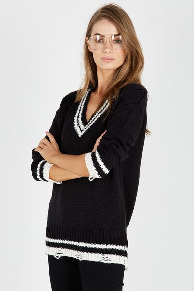 Viky V Neck Knit Sweater, BLACK/TIPPING
