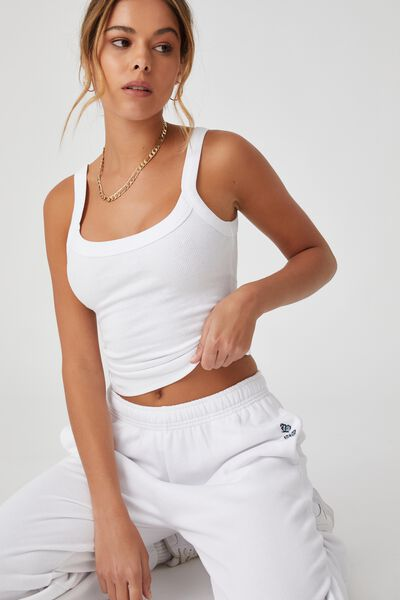Abby Scoop Neck Tank, WHITE