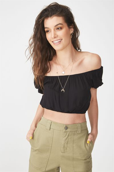 Jasmine Bubble Top, BLACK
