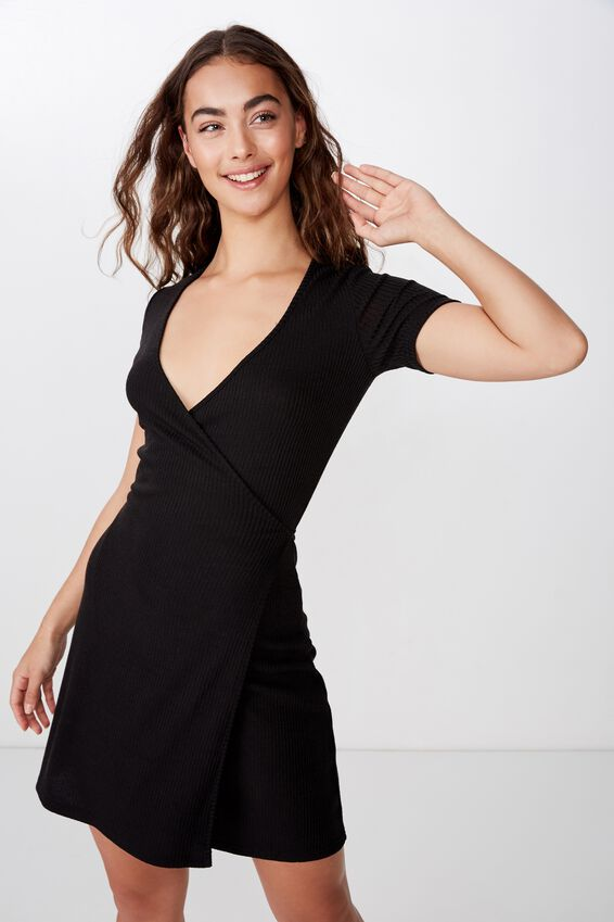 Sunny Short Sleeve Wrap Dress, BLACK