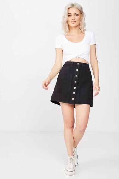 Ashley Button Through Denim Skirt, WASHED BLACK