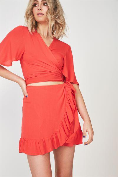 Frill Wrap Mini Skirt, TOMATO