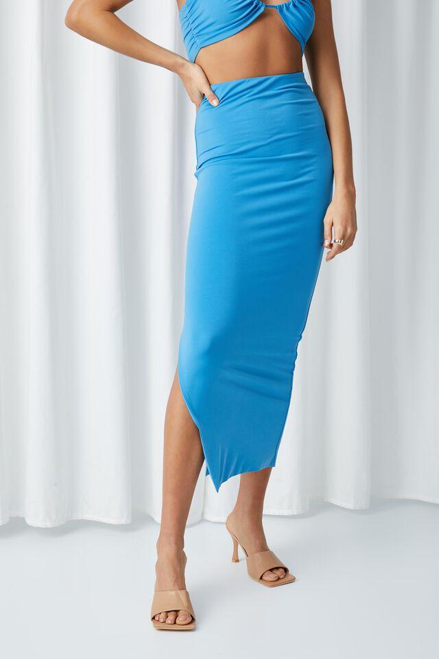 Opal Luxe Maxi Skirt Co Ord, AZURE BLUE