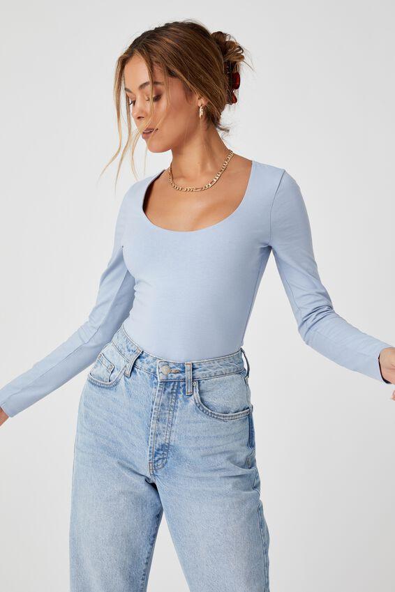 Long Sleeve Scoop Neck Top, HAZEY BLUE
