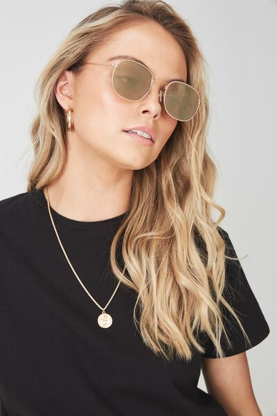 Tammy Rounds Sunglasses, BROWN/GOLD