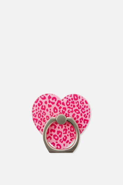 Novelty Phone Ring, LEOPARD PINK HEART