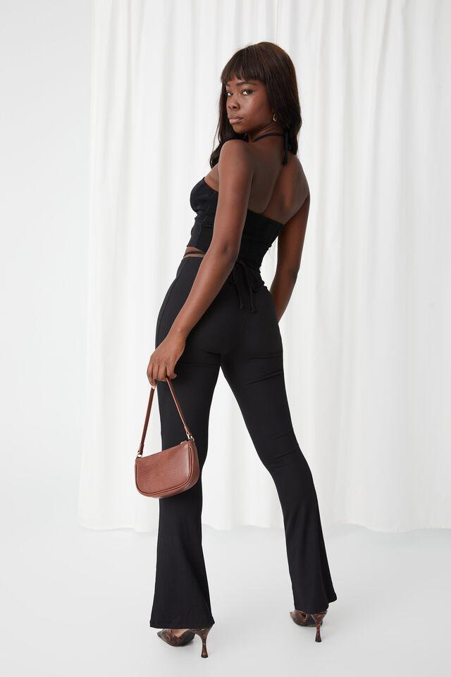 Francine Ruched Flare Pant, BLACK