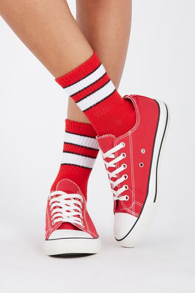 90S Sporty Crew Socks, RED/WHITE