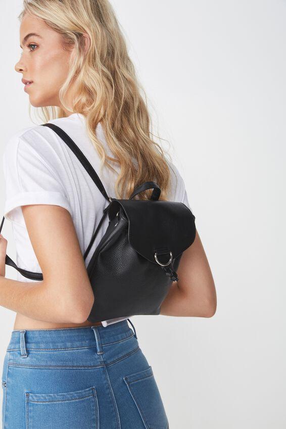 Drawstring Mini Backpack, BLACK