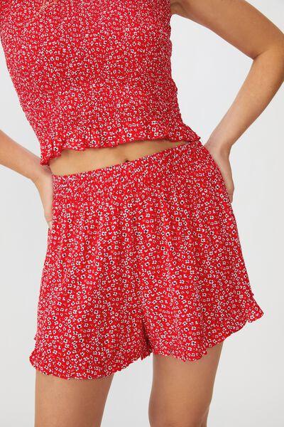 Miranda Shirred Waist Frill Short, FLOWY FLORAL RED