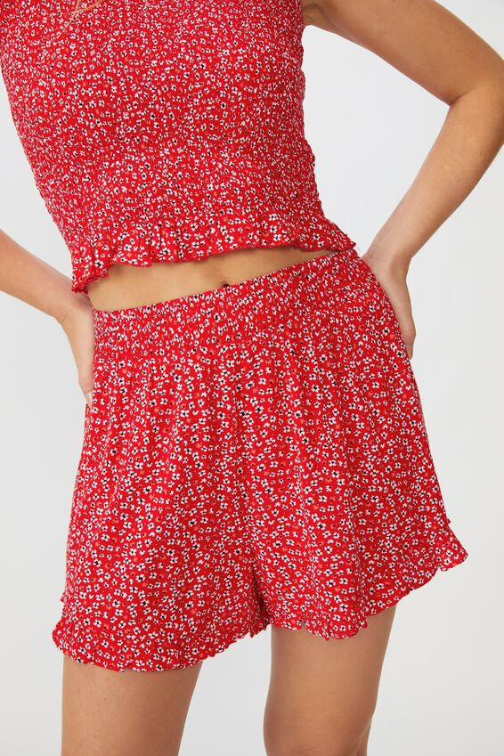 Miranda Shirred Waist Frill Short, FLOWY FLORAL RED