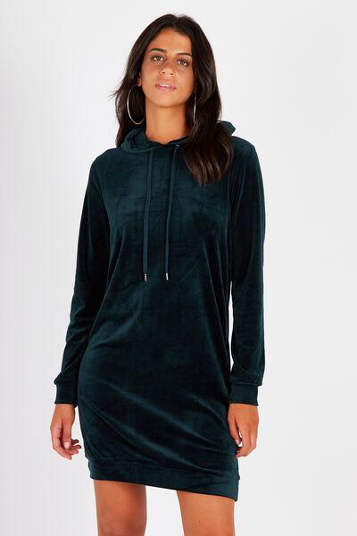 Oversized Velour Hoodie Dress, DEEP GREEN