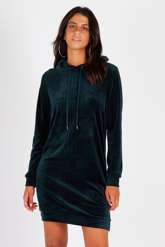 Oversized Velour Hoodie Dress | Tuggl