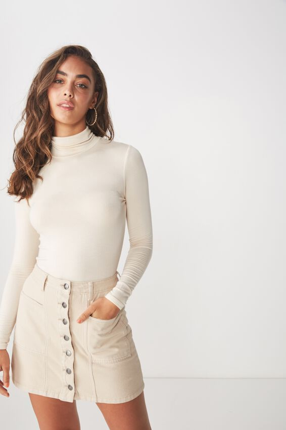 Olsen Button Through Mini Skirt, CLOUD