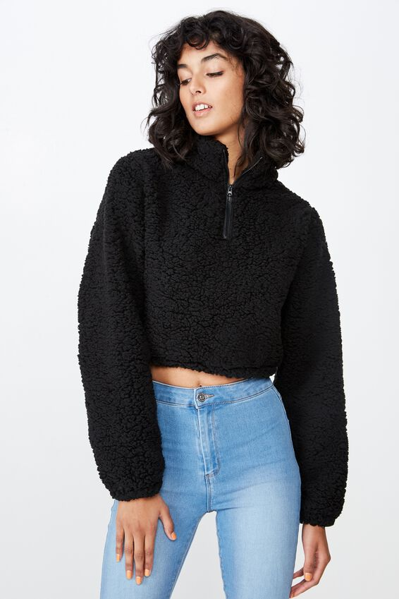 Teddy Crop Jumper, BLACK