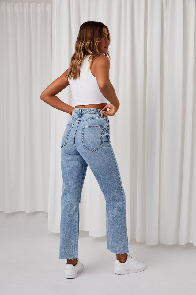High Rise Straight Ripped Jean, WINTER BLUE RIPS