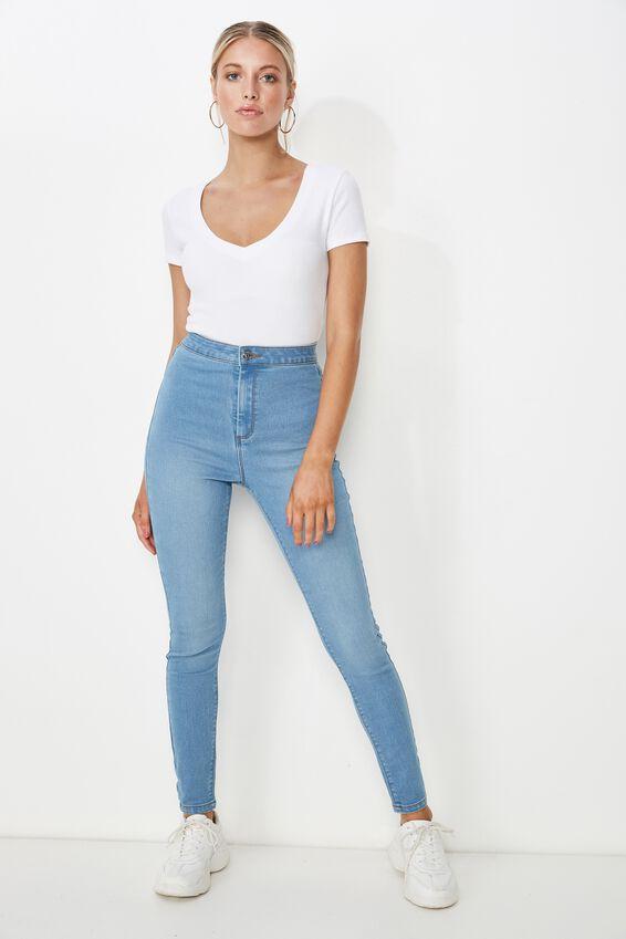Super Skinny Sky High Jean, WAVE BLUE