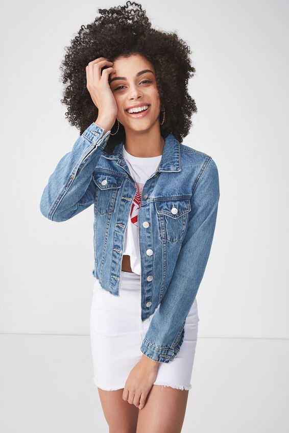Cut Off Denim Jacket, ORIGINAL BLUE
